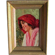 Vintage Impressionistic Oil Painting of a Pretty Girl