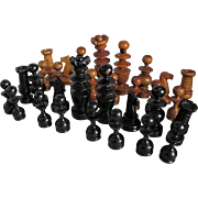 Antique Turned Wood Chess Set, Board Game