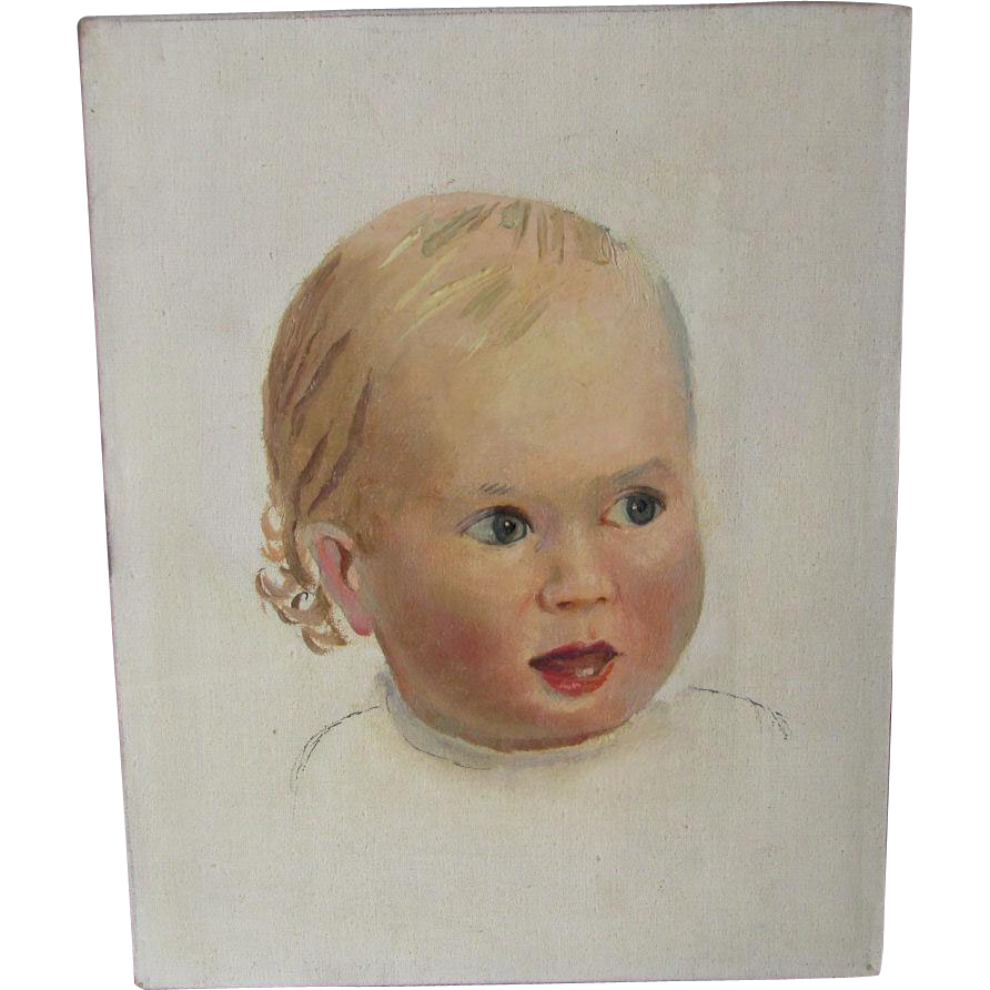 Charming  Vintage Oil Painting of a Baby, Child