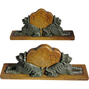 Pair Antique Gargoyle, Sphinx Desk Paperweights