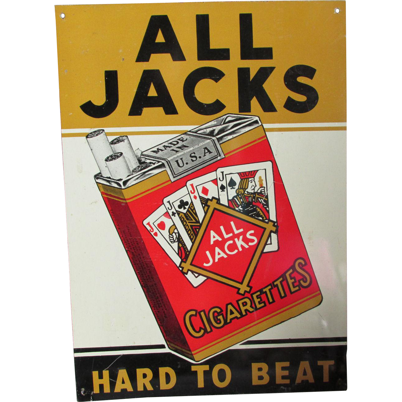 1930s All Jacks Hard to Beat Cigarette Advertising Sign