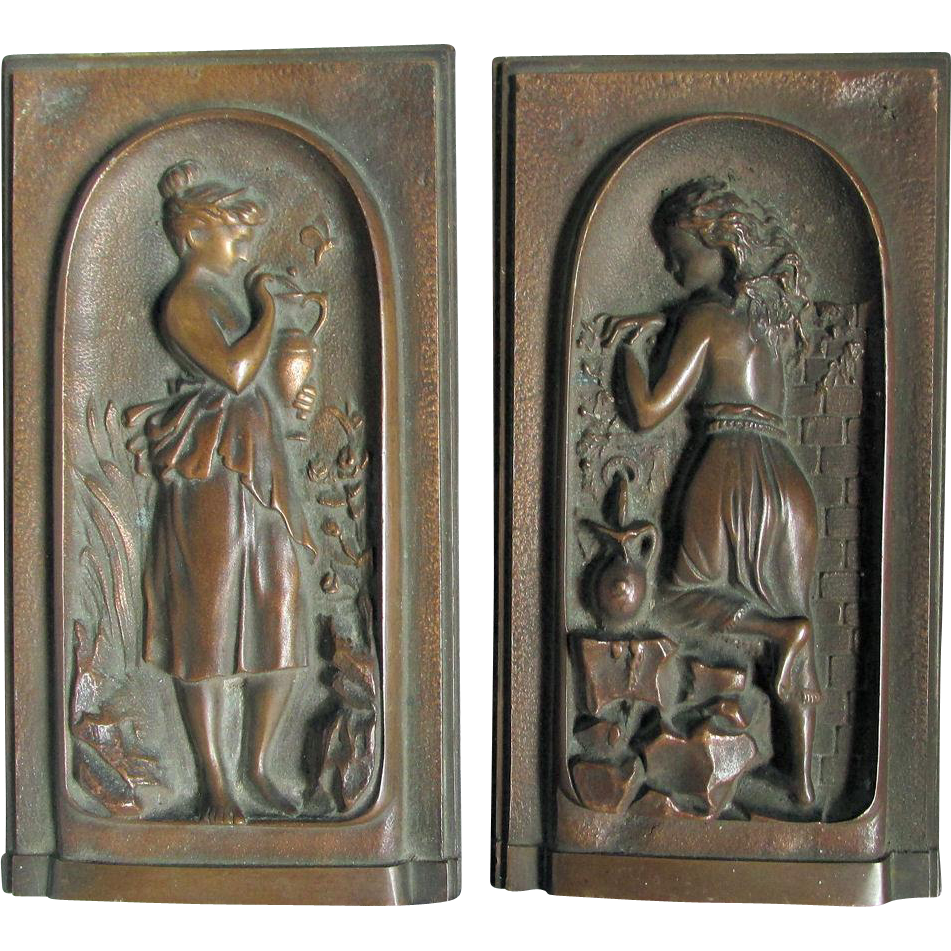 Pair Petite Bronze Plaques of Ladies, Architectural, Garden