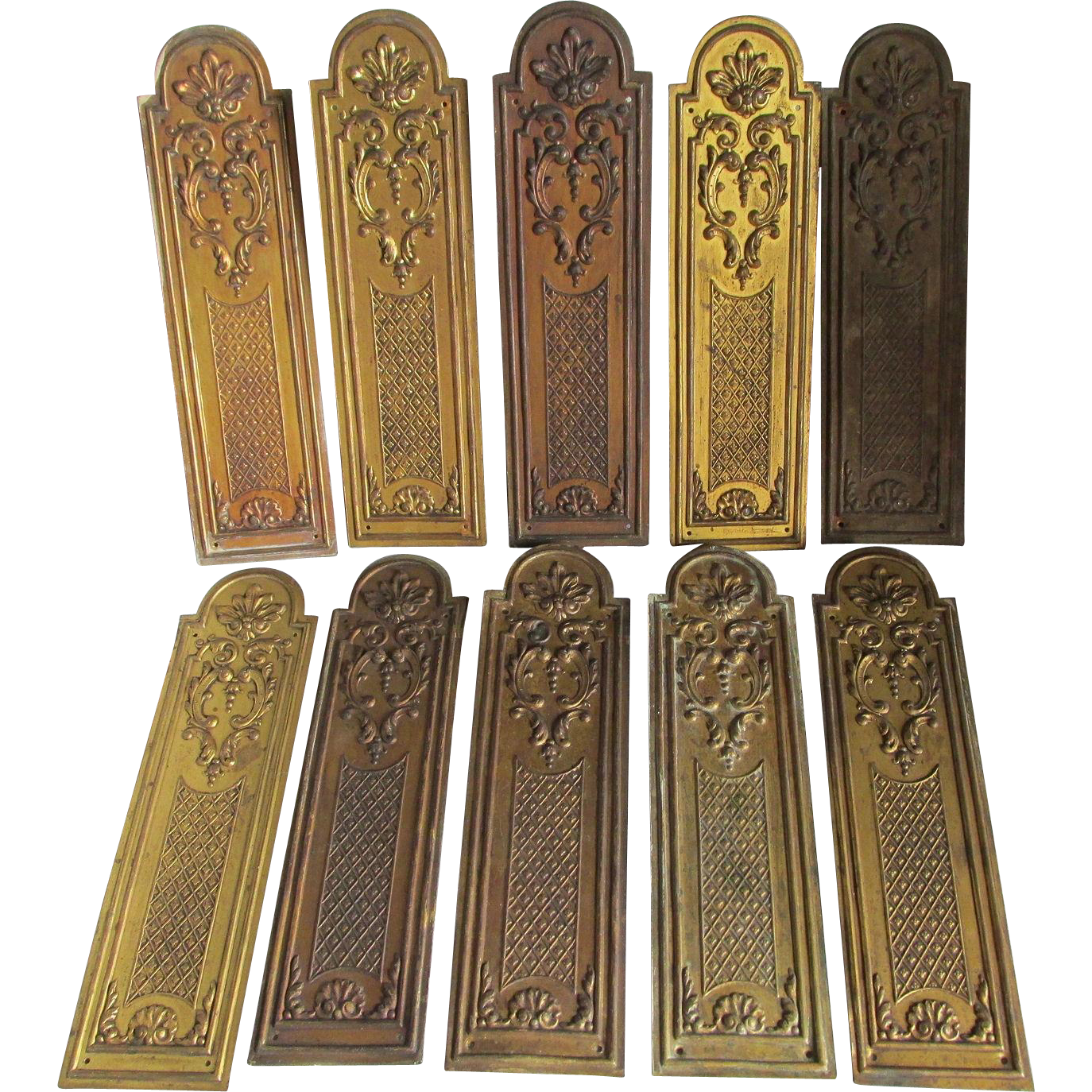 10 Matching French Door Push Plates, Architectural