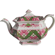 Rare c1830s Multi Color Staffordshire Transferware Teapot