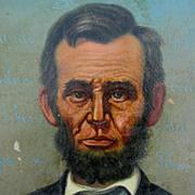 Folk Art Oil Painting of President Abraham Lincoln