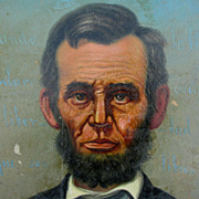 Folk Art Oil Painting of President Abraham Lincoln