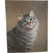 Vintage Oil Painting of Cat Signed Kurt Urion