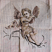 Antique Beaded Tapestry of an Angel with Musical Instrument
