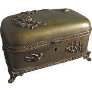 19thC Victorian Jewelry Box with Birds, Flowers
