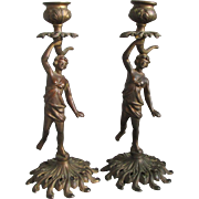 Pair Antique Victorian Nude Candlesticks