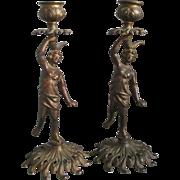 Pair Antique Victorian Nude Candlesticks