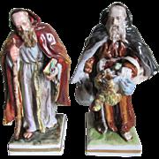 Pair German Porcelain Monk Figurines