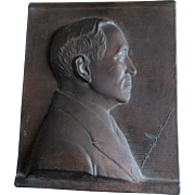 c1930s Cast Metal Plaque of an Important Gentleman