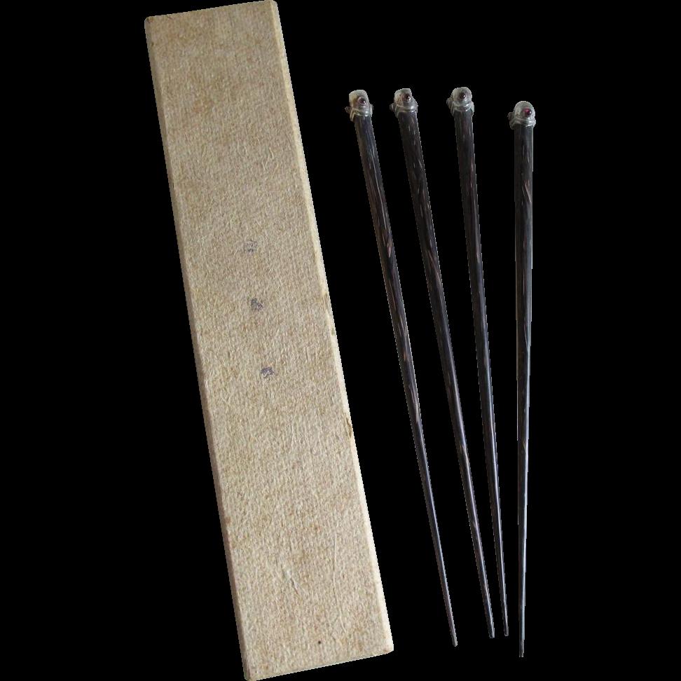 4 Vintage Silver & Garnet Horn Chopsticks