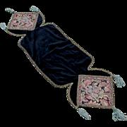 Lovely Velvet Tapestry Tablecloth Runner with Metallic Lace