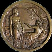 19thC Bronze Plaque, Moorish Nubian Soldier & Lady