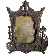 19thC Vanity Mirror, Picture Frame, Theater Stage Motif