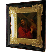Antique Oil Painting on Tin of Jesus Christ
