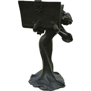 Antique Art Nouveau Sculpture of Lady with Book, Piquemal