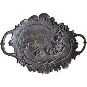 19thC Victorian Bronze Plaque, Tray of Cherubs & Swan