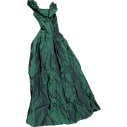 Vintage Taffeta Gown, Dress, Formal, Forest Green