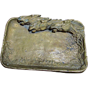 Antique Bronze Tray with Horse Motif, Desk or Vanity Accessory
