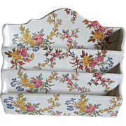 Lovely Antique Ironstone Letter Holder with Chintz Design
