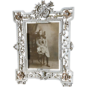 Antique Picture Frame with Lyre, Original Paint