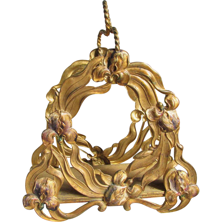 c1890s Art Nouveau Letter Holder, Iris Flowers