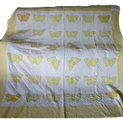 c1920-30s Art Deco Applique Butterfly Quilt