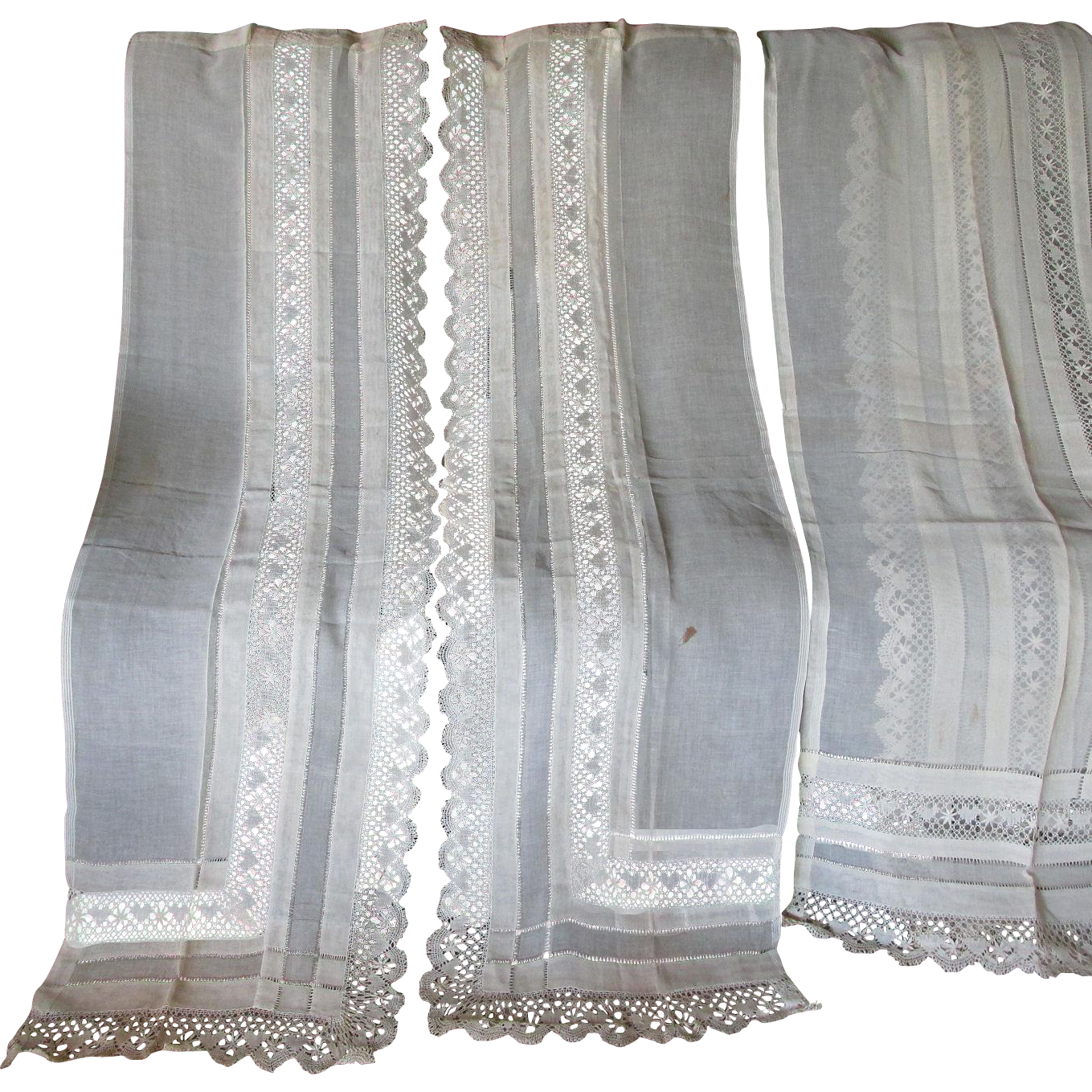 4 Panels Hand Made Lace & Drawn Work Linen Curtains