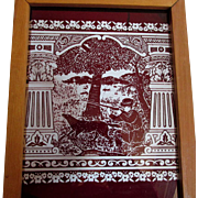 19thC Etched Stained Glass Window Pane, Architectural