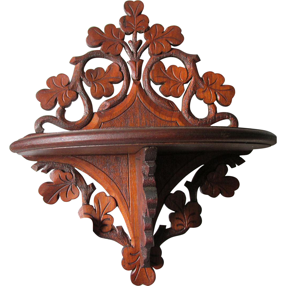 c1890s Antique Hand Carved Folk Art Shelf, Cottage
