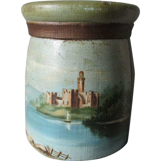 19thC Folk Art Treen Box in Old Paint with Castle