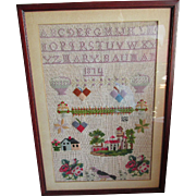 Sampler with House, Birds, Signed Mary Bauman, 1874