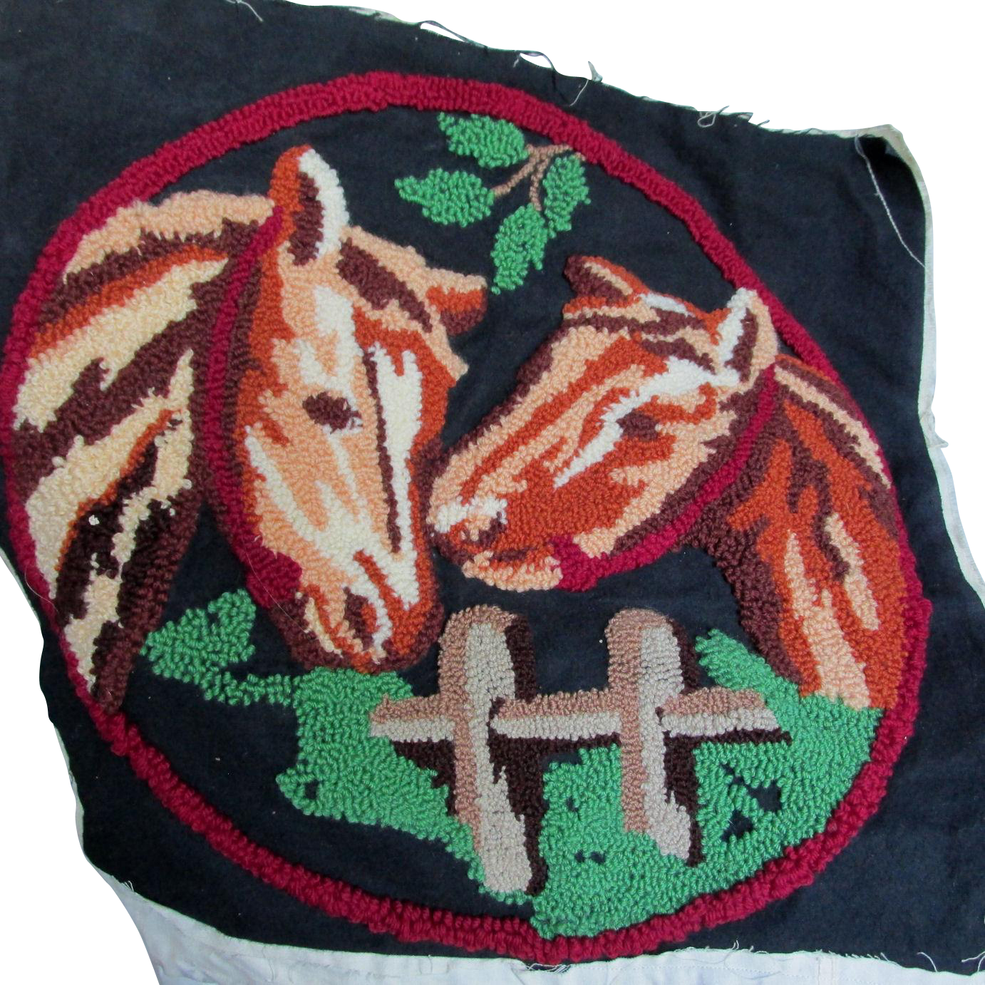 c1930s Art Deco Hooked Pillow Cover 2 Horses