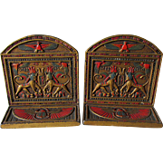 Rare c1920s Art Deco Egyptian Revival Bookends, Original Finish