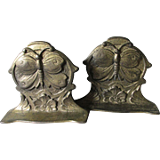 Antique Art Nouveau Butterfly Bookends