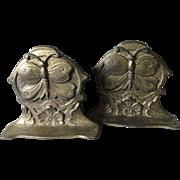 Antique Art Nouveau Butterfly Bookends