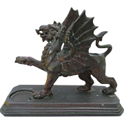 Antique Griffin, Gargoyle Match Safe, Desk Accessory