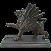 Antique Griffin, Gargoyle Match Safe, Desk Accessory