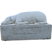19thC Carved Marble Lamb, Mourning Memorial for MARY
