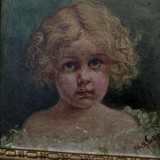 c1897 Oil Painting of a Little Girl, Signed Fawcett
