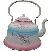 Antique French Agateware Tea Kettle, Teapot
