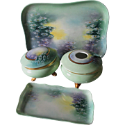 4 Piece Hand Painted Vanity Set, Tray, Boxes