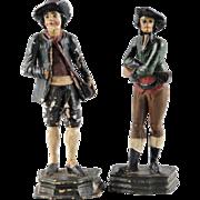 Pair Antique Hand Carved Men Figurines, Creche