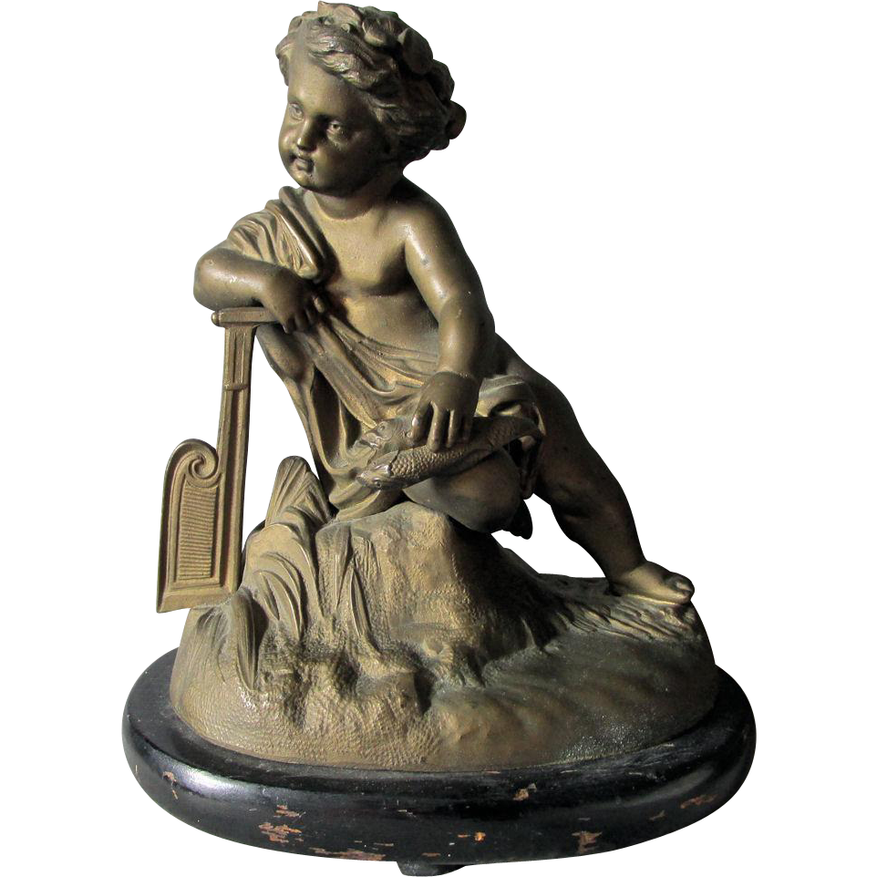 19thC Sculpture of a Cherub with Fishing Net