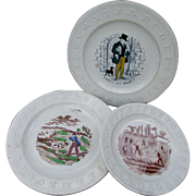 3  19thC Children's ABC Plates, Dog Seller, Cricket, Hunting