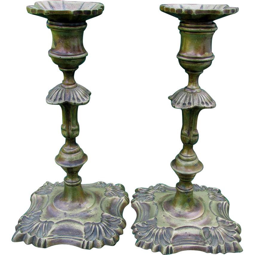 Pair Antique English Queen Anne Style Brass Candlesticks