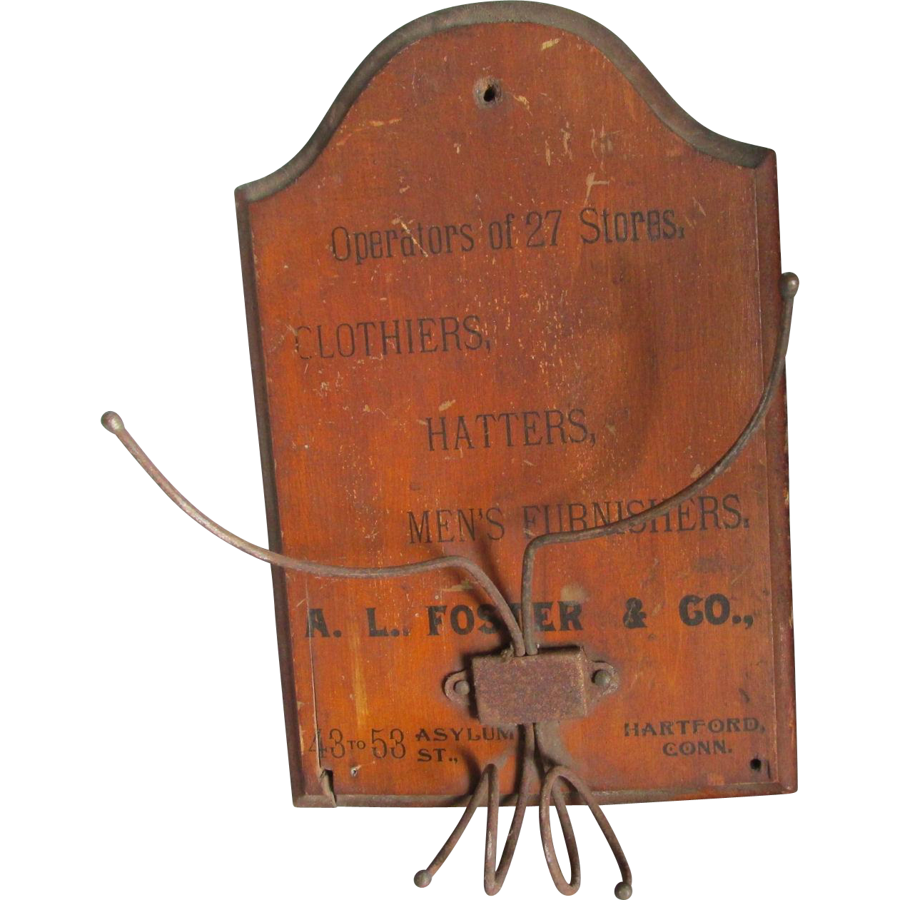 19thC Advertising Hat Rack Cane Holder, Hartford CT